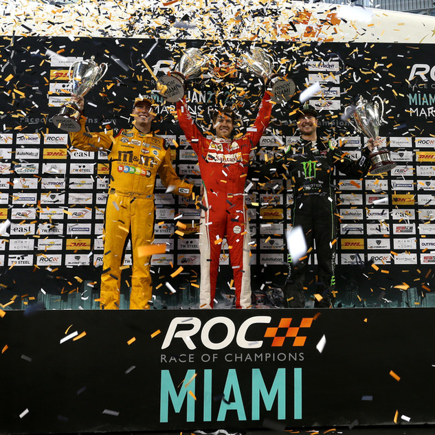 ROC Miami 2017_Nations Cup_Podium_Winner Team Germany Sebastian Vettel and runner up Team USA Kyle and Kurt Busch