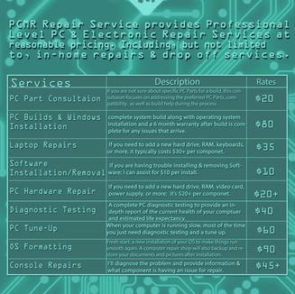 PCMR Repair Service Price List