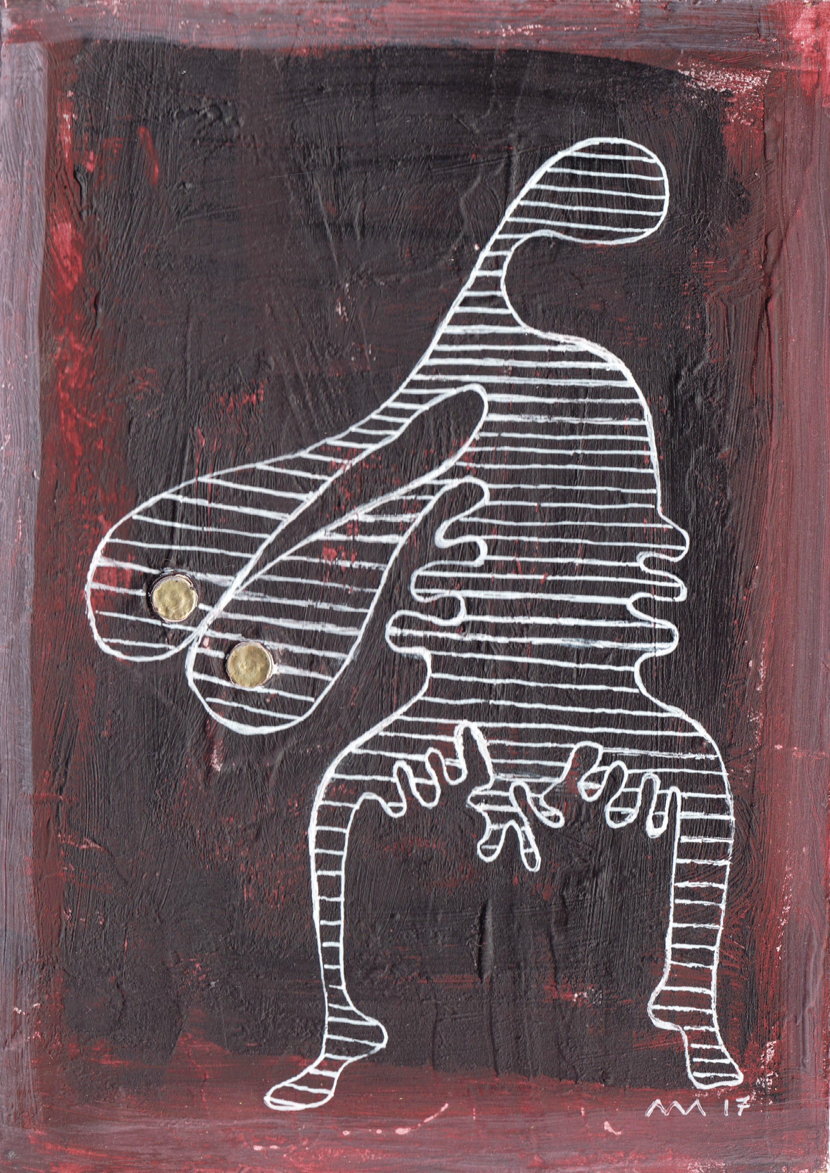 Femme debout, gouache et stylo bille, 18x13 cm