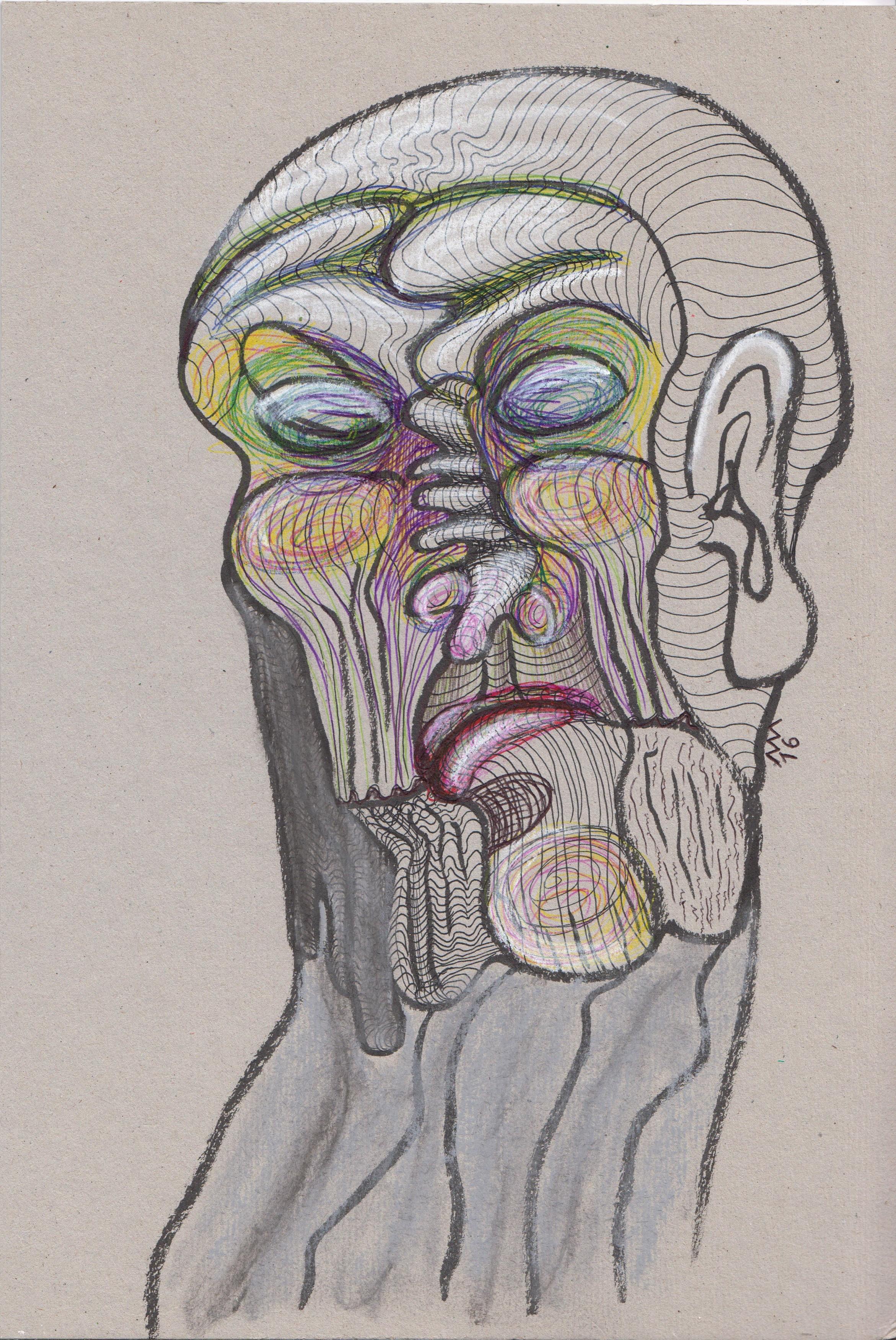 Le Christ sur ses vieux jours, encre, pastel et stylo bille, 29x20 cm