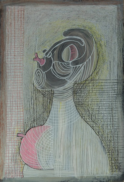 Un bisou, 21x14 cm, Technique mixte, 202