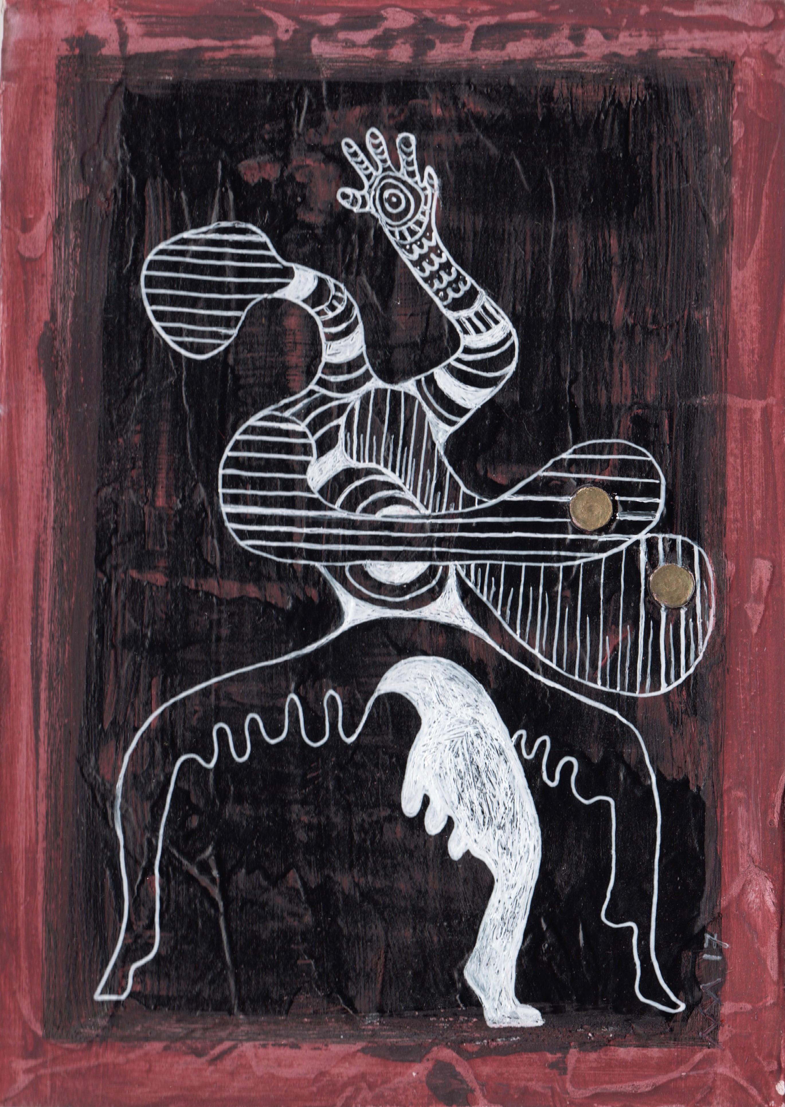 Femme tripode, gouache et stylo bille, 18x13 cm