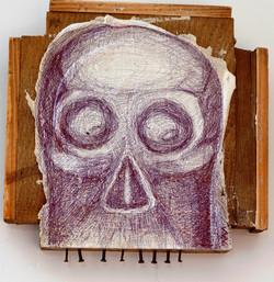 Mais qu'allons nous faire de tout ce bonheur, gouache acrylique et  stylo bille sur bois, 16,5x16,5