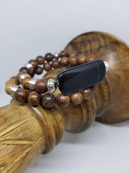 Large Black Agate Bead & Wood Bead Bracelet