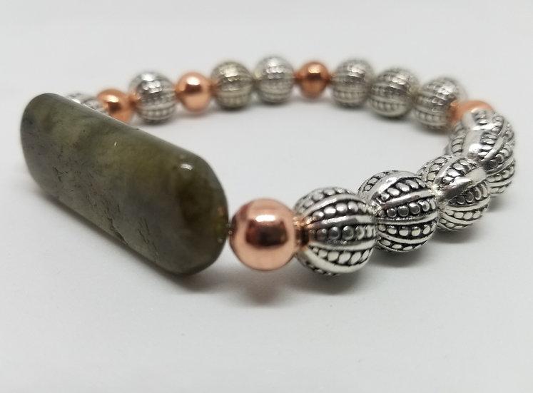 Rectangular Labradorite Copper & Metal Bracelet