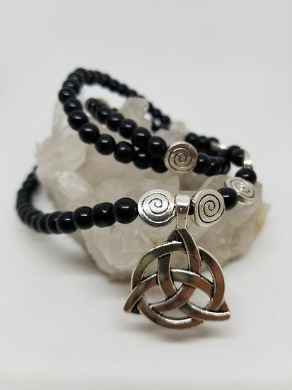 Celtic Knot Pendant & Jet Black Glass Bead Necklace/Bracelet