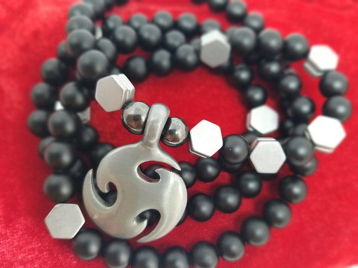 Triskelion Pewter Pendant & Black Onyx Bead Necklace