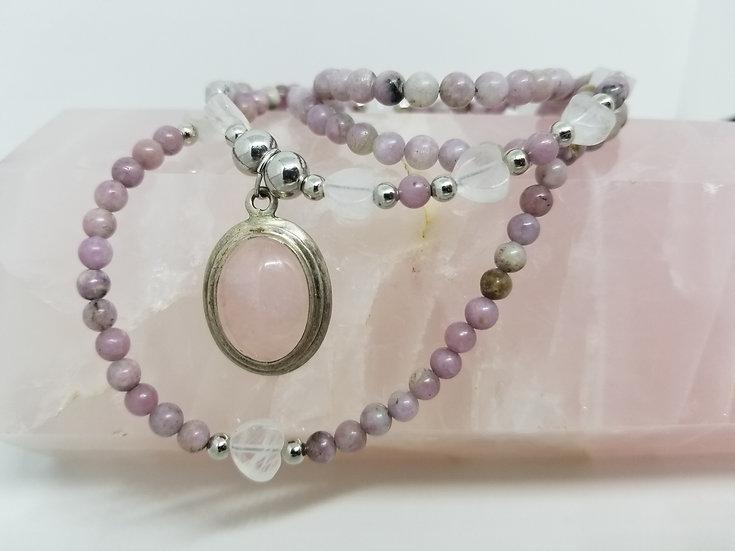 Rose Quartz & Sterling Silver Pendant Necklace