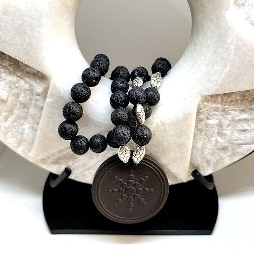 """Scalar Energy"" Large Lava Pendant & Large Black Lava Bead Necklace #1"