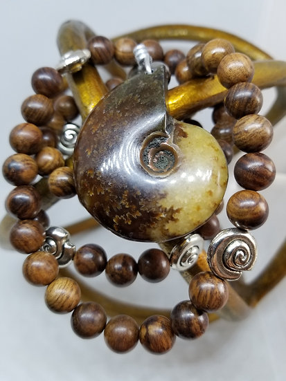 Ammonite Fossil & Wood Bead Necklace
