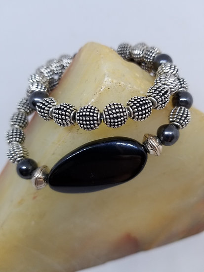 Black/Brown Agate Oval Bead & Metal Bead Bracelet
