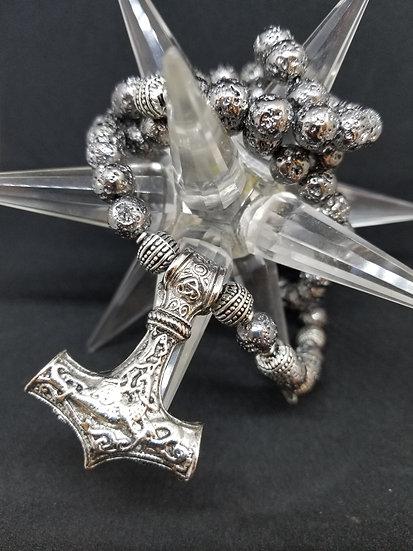 Thor's Hammer & Gun Metal Bead Necklace