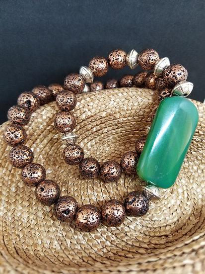 Large Green Agate Bead & Copper Lava Bead Bracelet