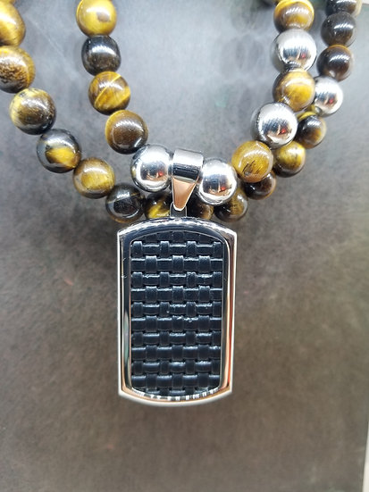 Black Weave Stainless Steal Dog Tag & Tiger Eye Bead Necklace