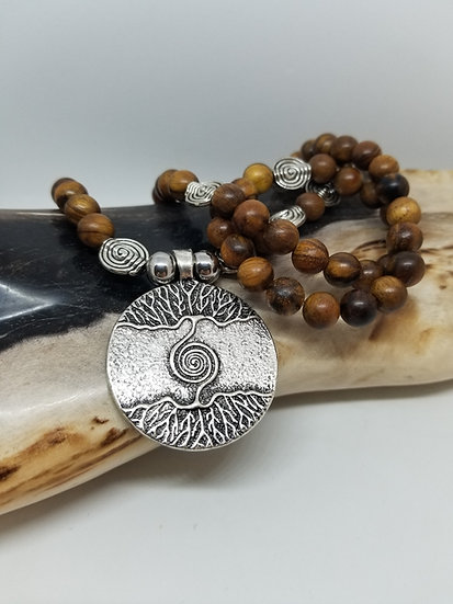 Double-Sided Tree & Roots of Life Wood Bead Necklace