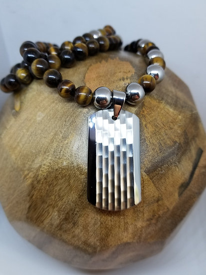 Stainless Steal Dog Tag & Tiger Eye Bead Necklace