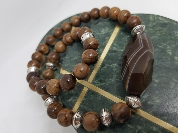 Large Brown Agate Bead & Wood Bead Bracelet