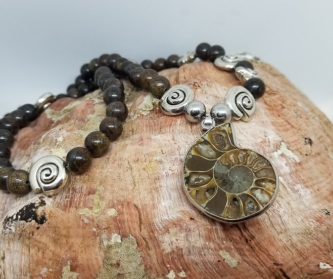 Ammonite Fossil Pendant & Bronzite Bead Necklace