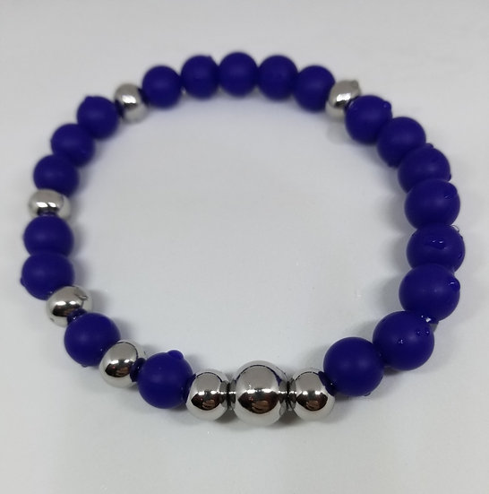 Blue Silicon & Stainless Steal Bracelet