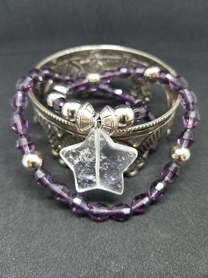 Clear Quartz Crystal Star & Amethyst Color Crystal Bead Diadem