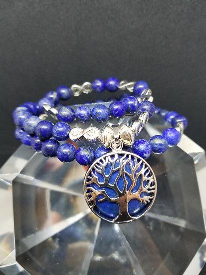 Tree of Life Lapis Lazuli Pendant & Lapis Lazuli Bead Diadem