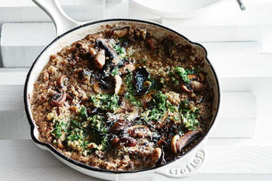 Mushroom quinoa risotto with hazelnut gremolata (Gluten-Free)