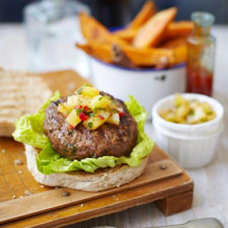 Skinny Thai Burgers with Sweet Potato Chips & Pineapple Salsa