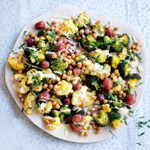 Turmeric-Roasted Cauliflower, Grape, Chickpea & Mint Salad