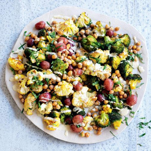 Turmeric-Roasted Cauliflower, Grape, Chickpea & Mint Salad