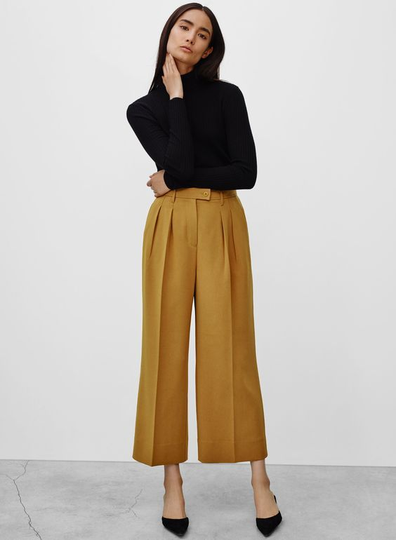 culottes in mustard wool