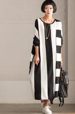 Korean_Style_Maxi_Size_Loose_Knitting_Stripe_Bat_Sleeve_Dress_Casual_Tops_Women_Clothes_Q7121A_mediu