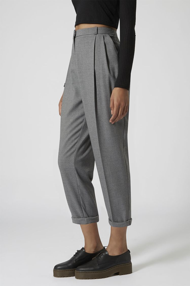 cropped & pleated trousers