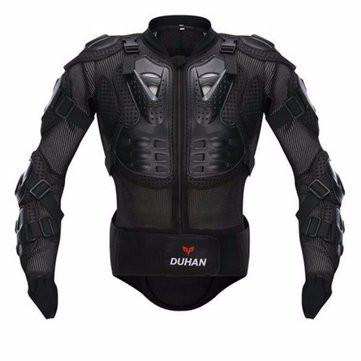 Jaqueta com protetores plasticos no ombro, cotovelo, peitoral e coluna.