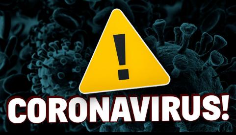 imagem de fundo do vírus microscopicamnete falando, em cima uma placa triangular amarela com um ponto de exclamação e abaixo escrito: coronavirus