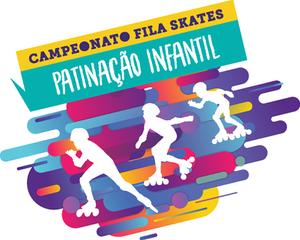 Imagem colorida com os dizeres: Campeonato Fila Skates de Patinação Infantil e desenho de patinadores todo em branco sobrepondo as cores