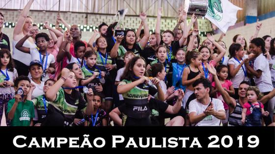 crianças e pais com as mãos para o alto, bandeiras balançando e nossa treinadora com troféu na mão de campeão paulista.