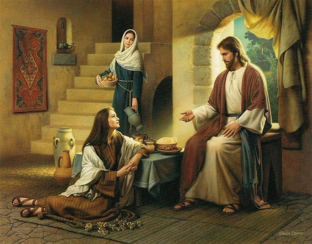 Mary sits at the feet of Jesus and Martha looks on.