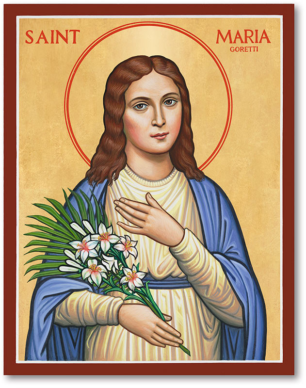 St. Maria Goretti wearing a blue robe, holding white lilies.