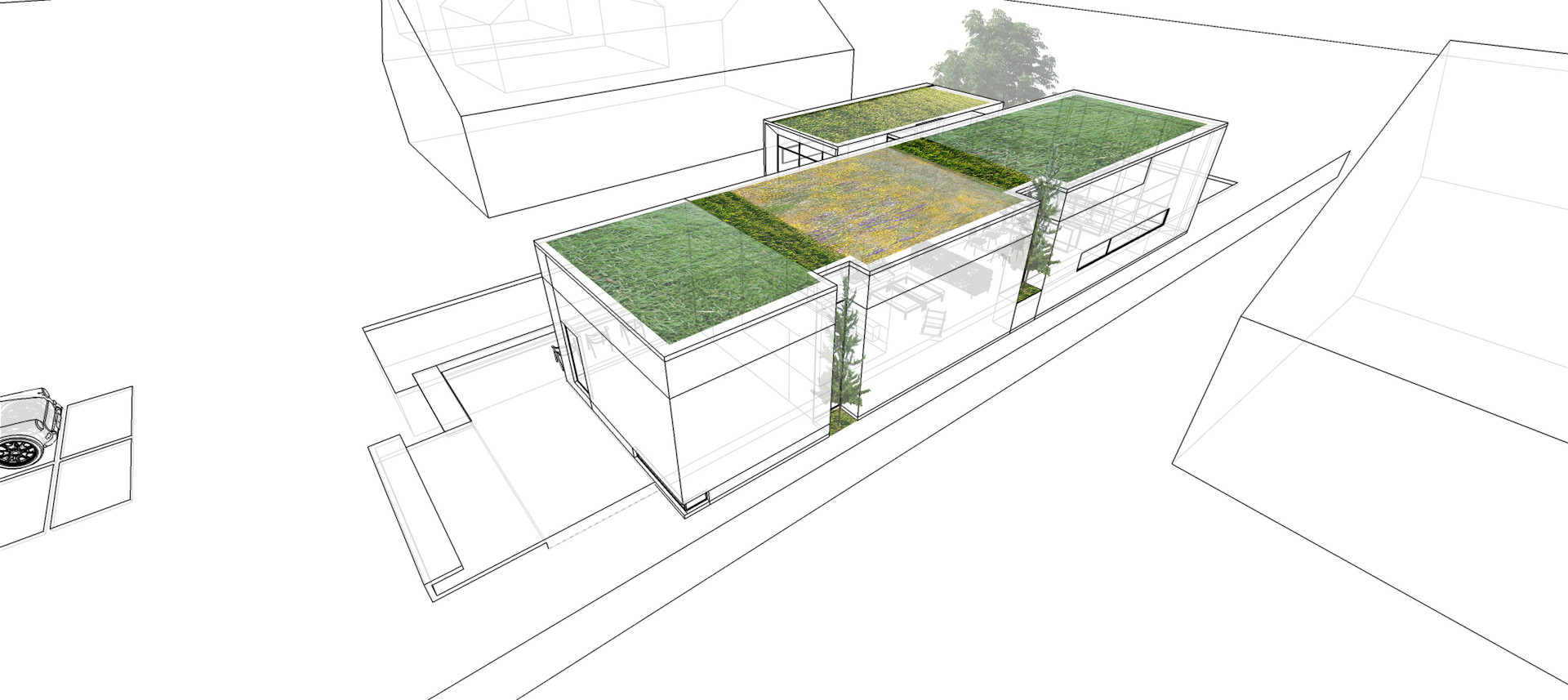 Accessible green roof for views and connection with the existing tree canopy.