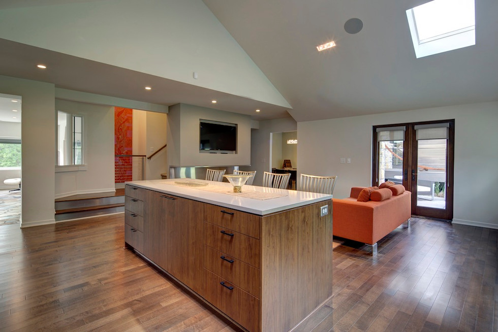 Repurposed sunroom transforms into the new kitchen.