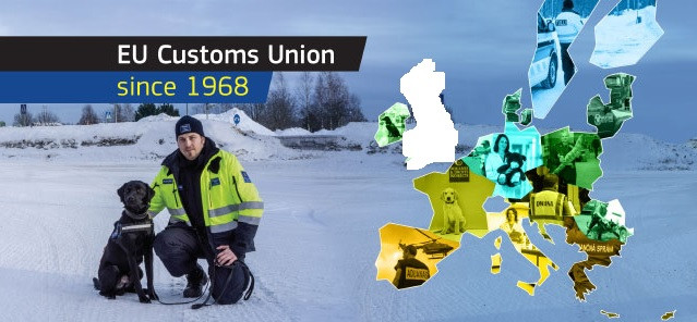 Dog, Customs Officer, Snow, Map of Europe, Customs Union, EU
