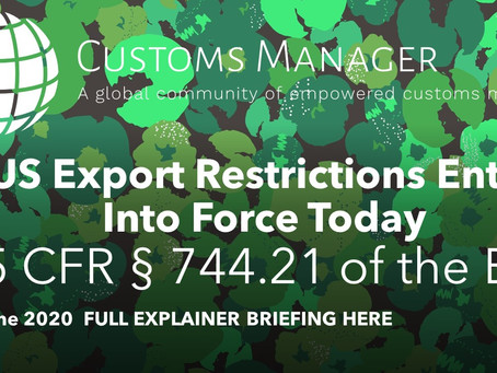 REMINDER: US Export Restrictions Enter Into Force Today: FULL Update and Briefing