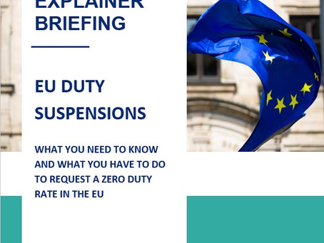 EU: Many products up for duty suspensions - Learn how you can get your products down to ZERO duty