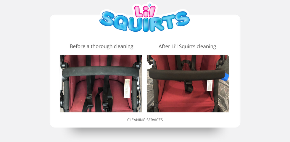 Maroon Bugaboo Maroon Stroller Before and After Cleaning Results
