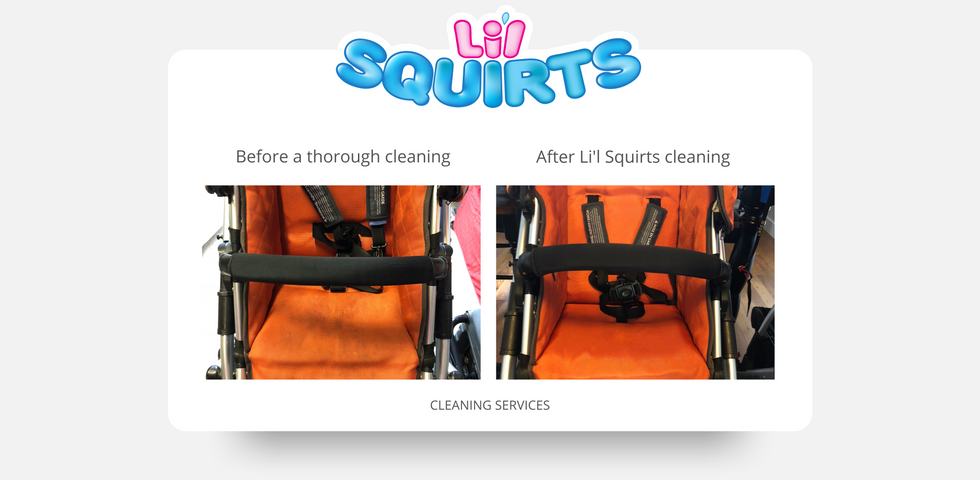 Orange UPPAbaby Vista Before and After Cleaning Results