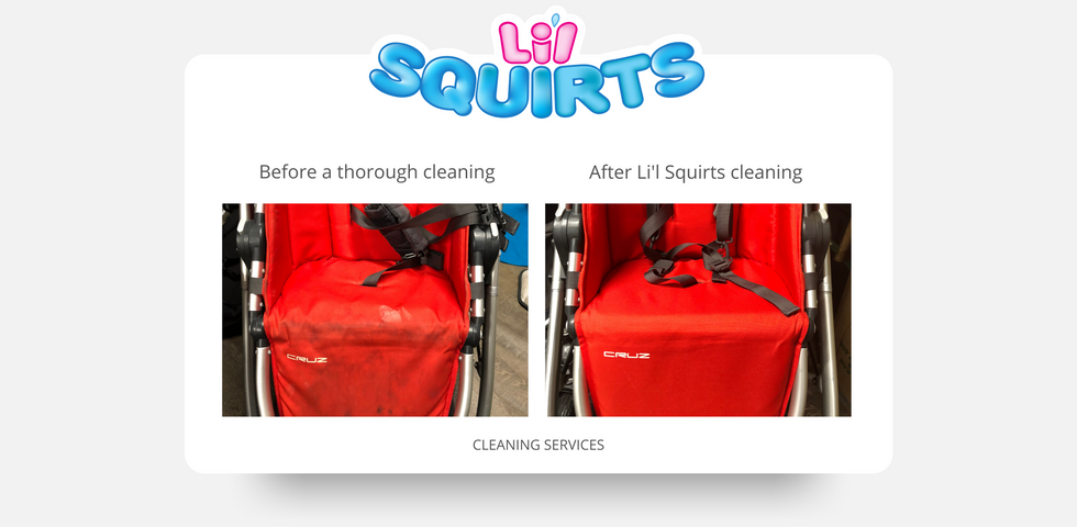 Red UPPAbaby Cruz Before and After Cleaning Results