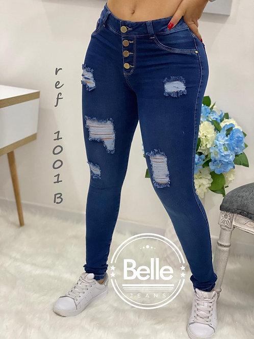 Jean Belle azul oscuro, 4 botones, tiro alto ref. 1001B