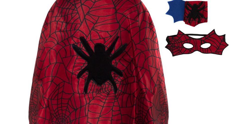 Ensemble araignée - Cape, masque, manchette