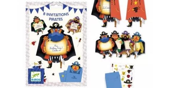 Fêtes - 8 cartes d'invitations pirates