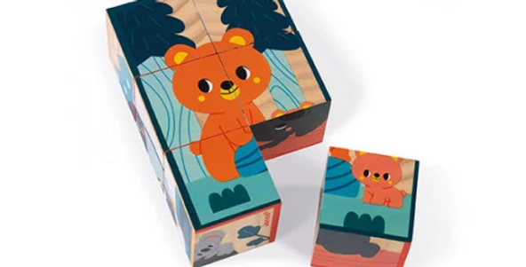 6 cubes en bois animaux
